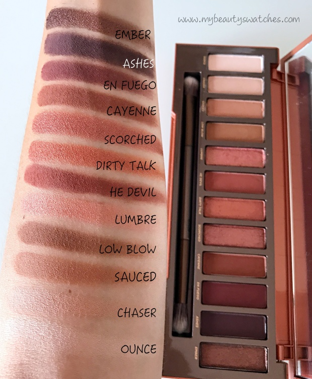 Urban Decay Naked Heat swatches.JPG